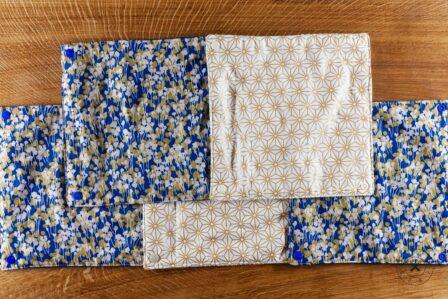 Tawachou - Création Zéro Déchets essuie tout lavable bleu et or