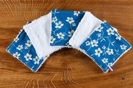 Tawachou - Création Zéro Déchets lingettes demaquillantes lavables x5 amandier bleu