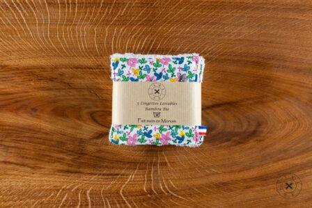 Tawachou - Création Zéro Déchets lingettes demaquillantes lavables x5 bouquet de fleurs 2