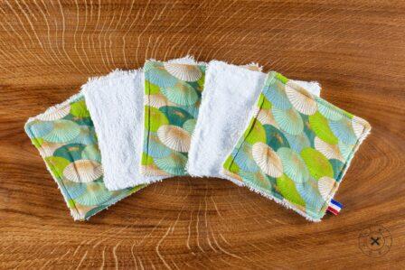 Tawachou - Création Zéro Déchets lingettes demaquillantes lavables x5 douceur du japon vert