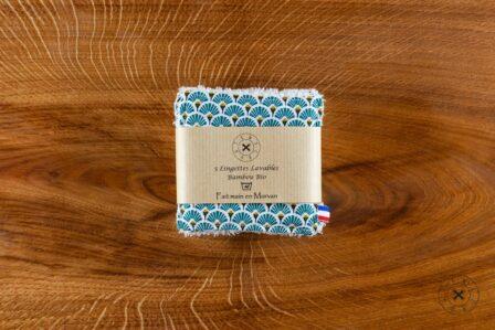 Tawachou - Création Zéro Déchets lingettes demaquillantes lavables x5 eventail turquoise 2