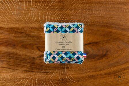 Tawachou - Création Zéro Déchets lingettes demaquillantes lavables x5 indien turquoise 2