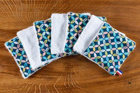 Tawachou - Création Zéro Déchets lingettes demaquillantes lavables x5 indien turquoise
