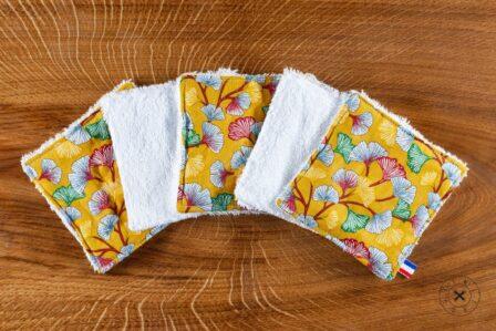 Tawachou - Création Zéro Déchets lingettes demaquillantes lavables x5 legerete jaune