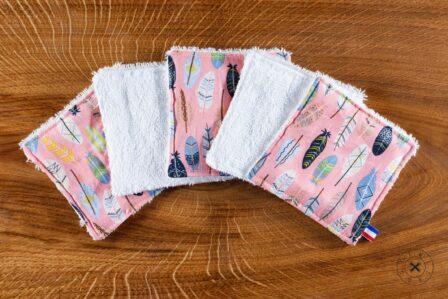 Tawachou - Création Zéro Déchets lingettes demaquillantes lavables x5 plume rose