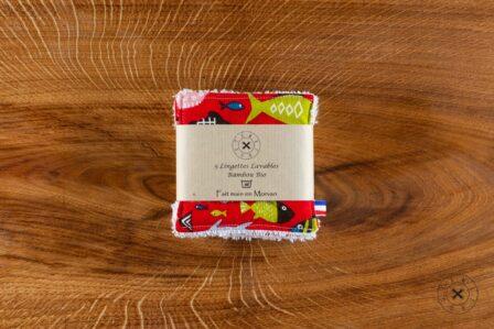 Tawachou - Création Zéro Déchets lingettes demaquillantes lavables x5 poisson rouge 2