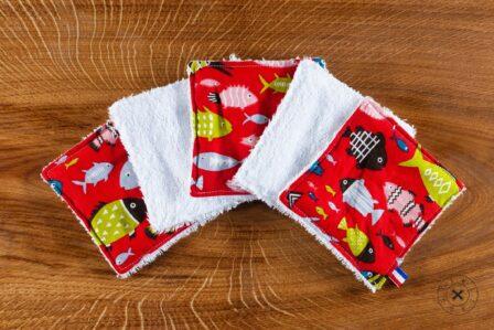 Tawachou - Création Zéro Déchets lingettes demaquillantes lavables x5 poisson rouge