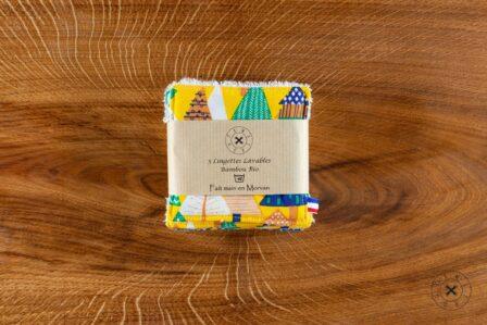 Tawachou - Création Zéro Déchets lingettes demaquillantes lavables x5 sapin jaune 2