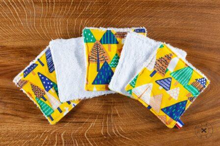 Tawachou - Création Zéro Déchets lingettes demaquillantes lavables x5 sapin jaune