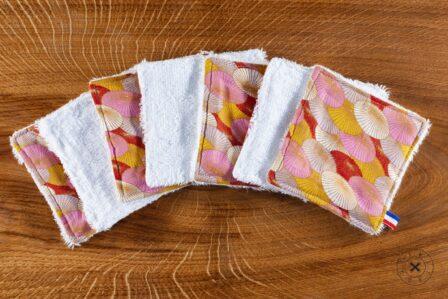 Tawachou - Création Zéro Déchets lingettes demaquillantes lavables x7 fleur saumon