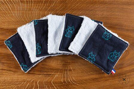 Tawachou - Création Zéro Déchets lingettes demaquillantes lavables x7 renard marine