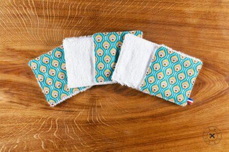 Tawachou - Création Zéro Déchets lingettes lavables indien turquoise