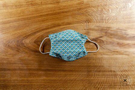 Tawachou - Création Zéro Déchets masque lavable tissu eventail turquoise