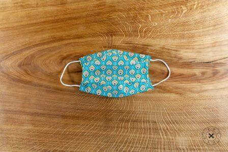 Tawachou - Création Zéro Déchets masque lavable tissu indien turquoise